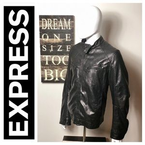 Express Black Leather Biker Bomber Jacket Large L